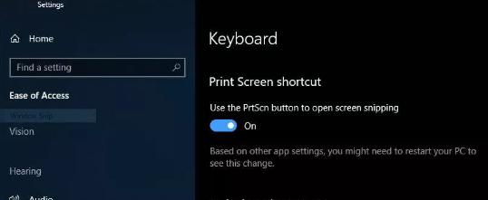 Keyboard setting for snapshot