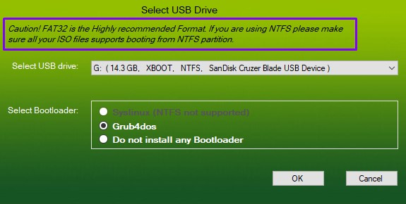 Select USB drive for make bootable Pen drive