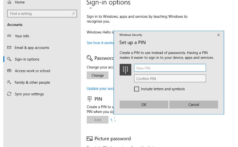 set password in windows 10