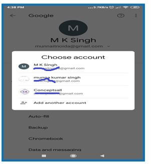 Different gmail account