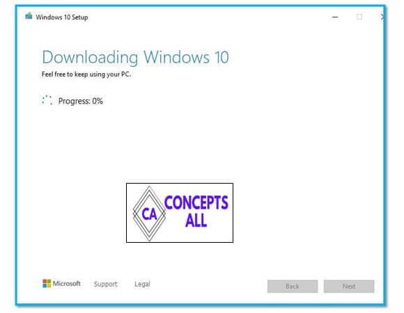 Downloading Windows 10 Setup