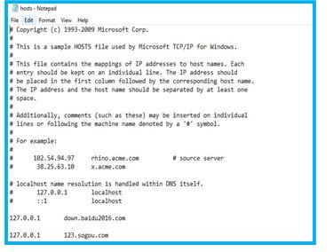 Hosts file on windows
