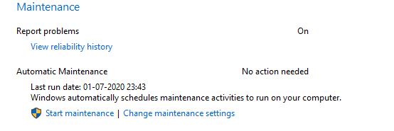 Maintenance Schedule of windows 10
