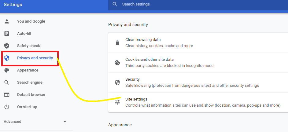 Privacy and security google chrome