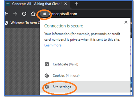 Site settings in Google Chrome