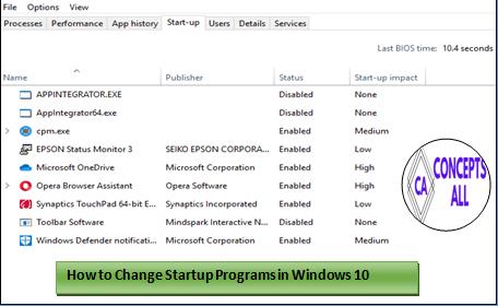 Startup Programs in Windows 10