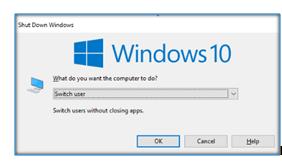 Switch user in windows 10 by alt +F4