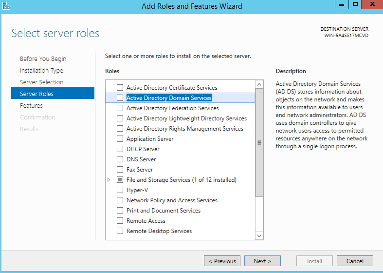 Add roles Of active directory