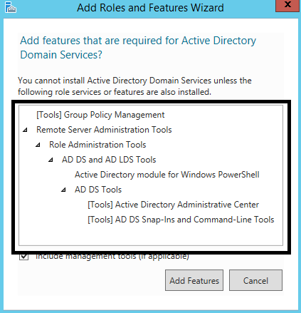 Add roles and features for install active directory