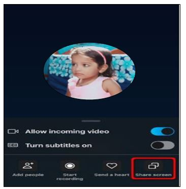 Click on Share screen on skype