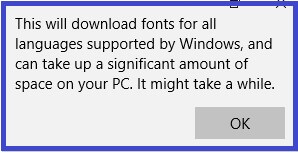 Download all Languages fonts message