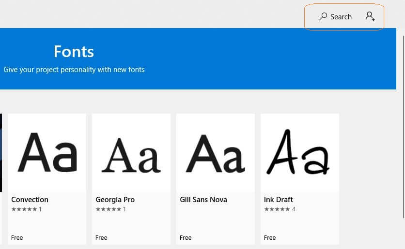 Fonts Search Options