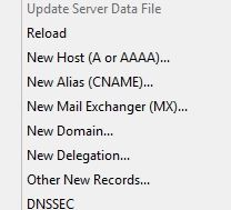 A Record Options in server 2019