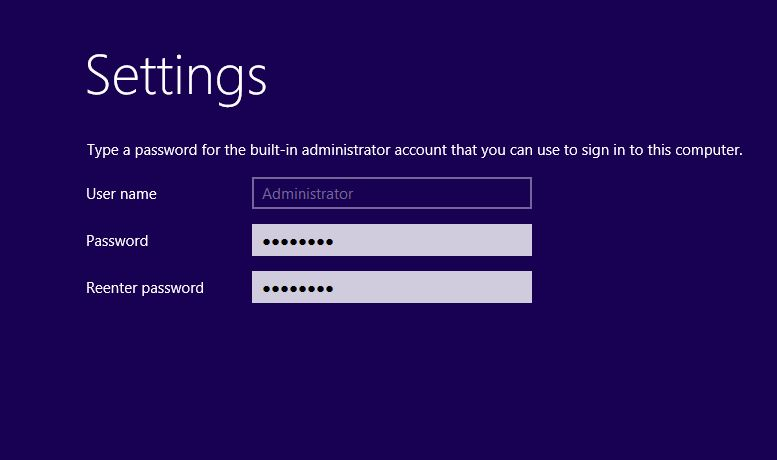 Administrator Password Options in server 2012