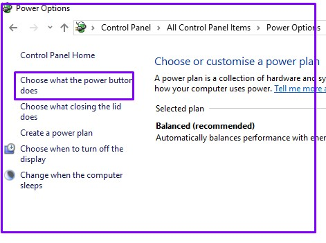 Choose options for change power plan