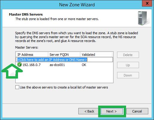 Configure Stub Zone in Windows