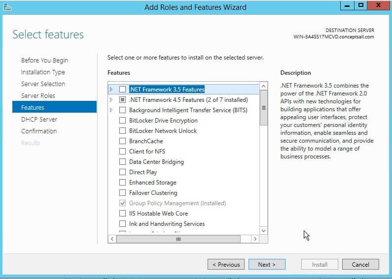 DHCP BY DEFAULT FEATURES ROLE