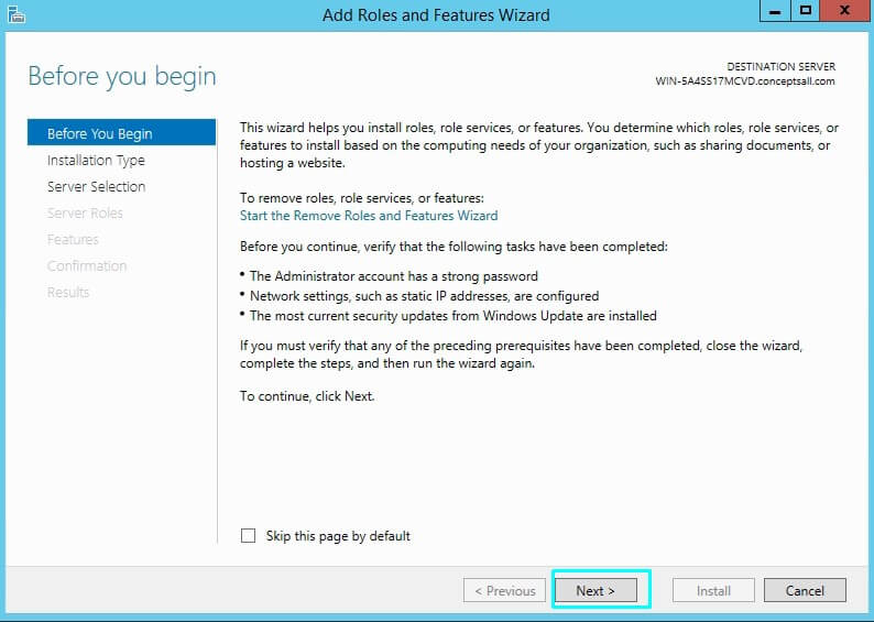 DHCP server Add role features wizard