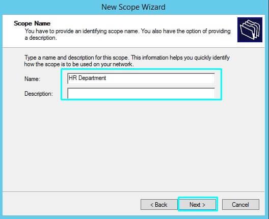 DHCP server scope name