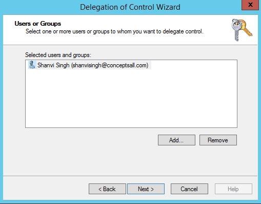 Delegation control add user