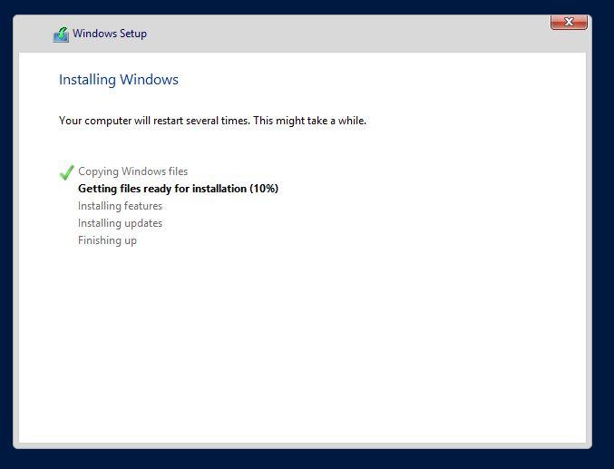 Installing Windows screen in server 2012