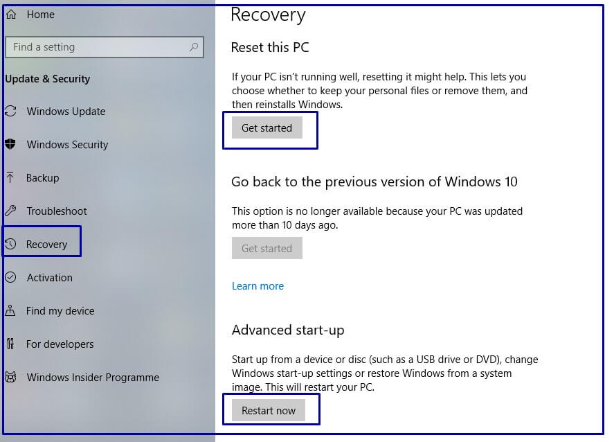 Recovery Windows