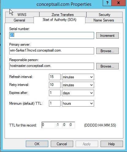 SOA record properties in server