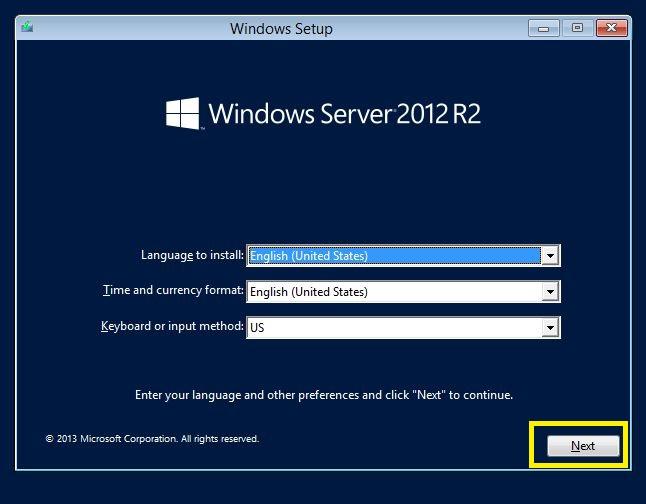 Windows server 2012 Welcome screen
