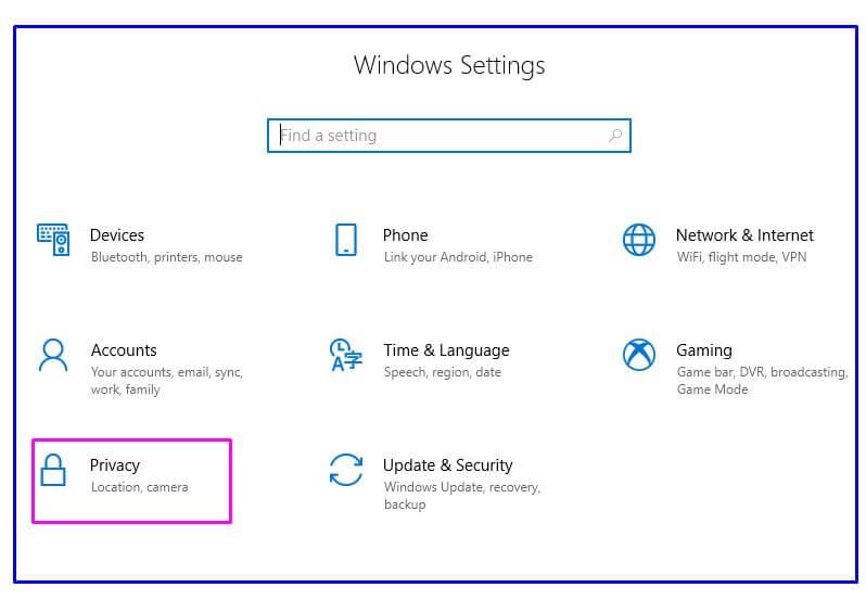 Windows settings Privacy