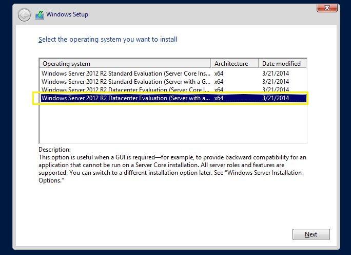 Windows setup server 2012