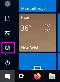 settings Options in Windows 10_1
