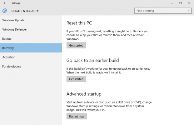 Click on Get started for reset Windows 10