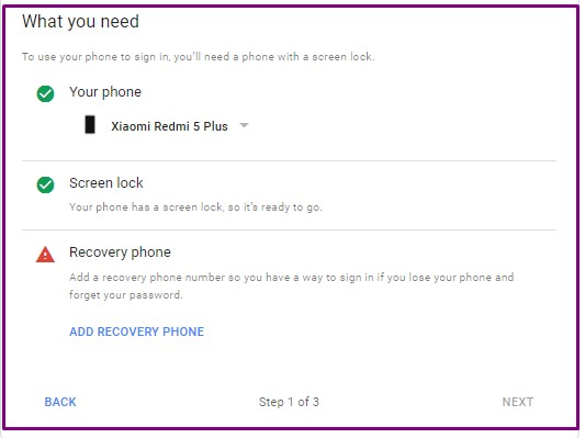 Add recovery Phone number