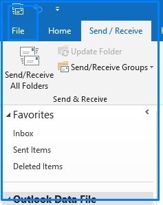 File Options on Microsoft Outlook 2019