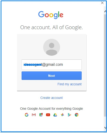Gmail address and Click on Next
