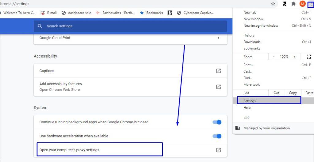 Google Chrome proxy settings