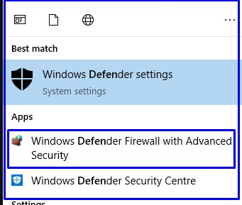 How to open Windows defender firewall with advanced security