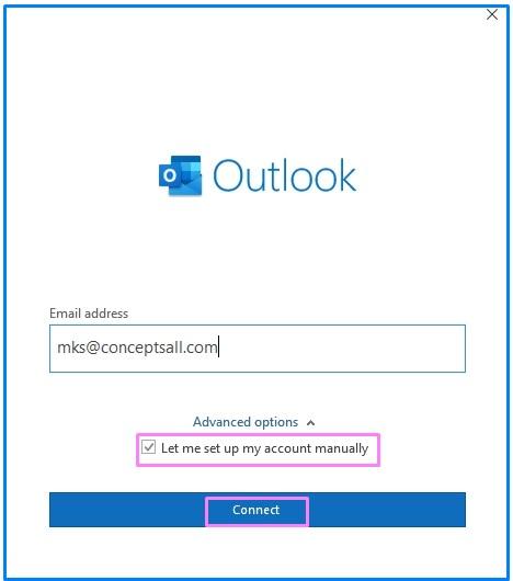Manual Configure Outlook