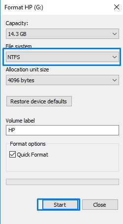 Start Format Pen Drive