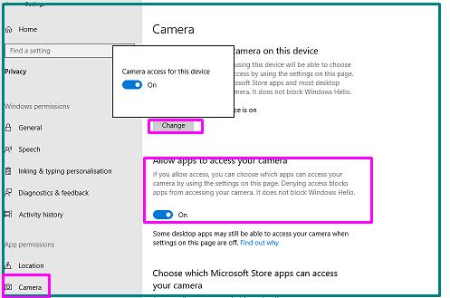 Camera-Access-Device-settings
