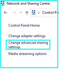 Change advanced sharing Options on Windows 10