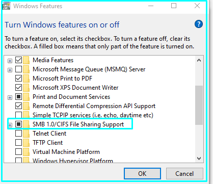 Enable CISF file Sharing on Windows 10