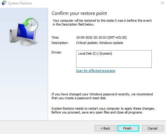 Finish-Restore-Points on Windows 10