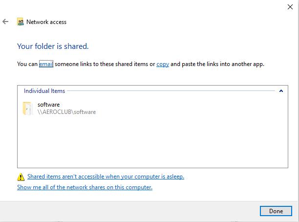 Sharing Path on Windows 10