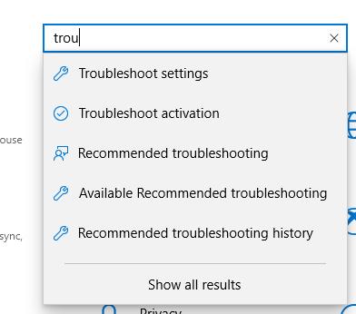 Troubleshooting options