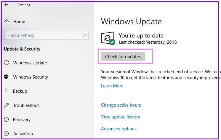 Windows-Update on Windows 10-check