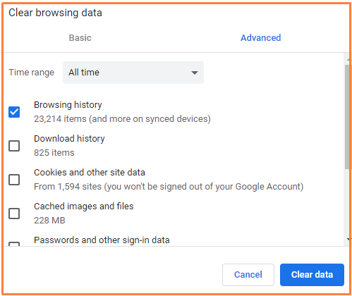 Clear History of Google Chrome