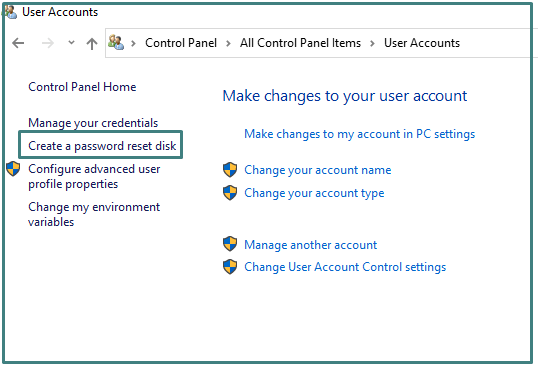 Create a Password Reset Disk option on Control Panel