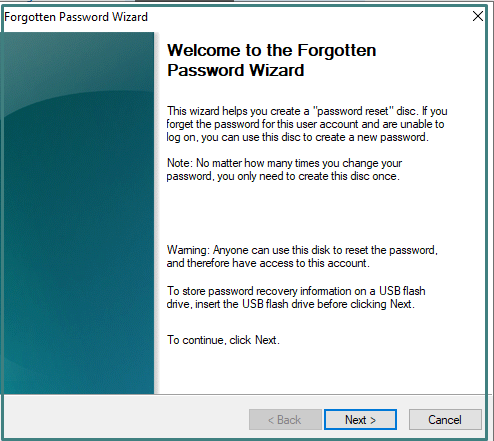 Forgot Password Wizard on Windows 10