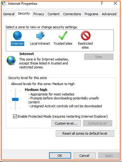 Internet security level